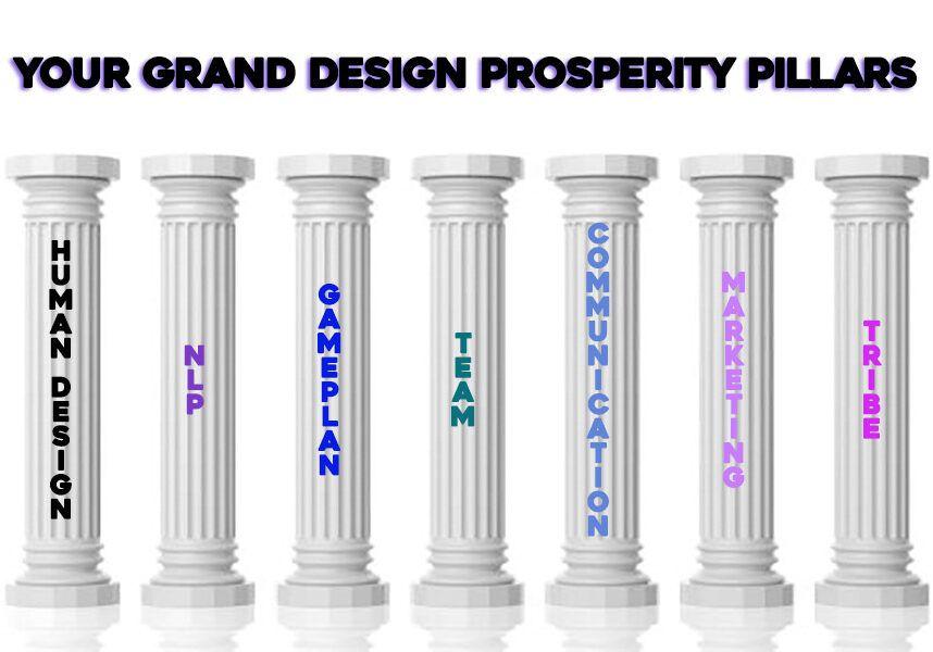 3d rendering seven white marble pillars on white background